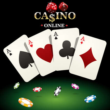 Casino banner for website design. Vector illustration dice, casino chips, poker playing cards