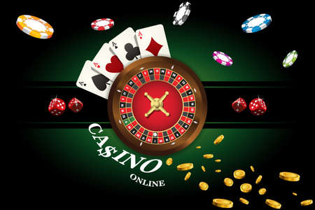 Ilustración de Casino background with roulette, dice, casino chips, playing cards for poker. Vector illustration - Imagen libre de derechos