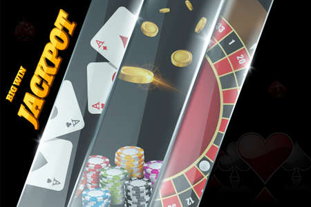 Casino banner design with roulette, poker chips, playing cards. Jackpot sign decoration on poster
