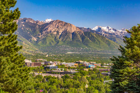 Salt Lake City Views with framed city mountains