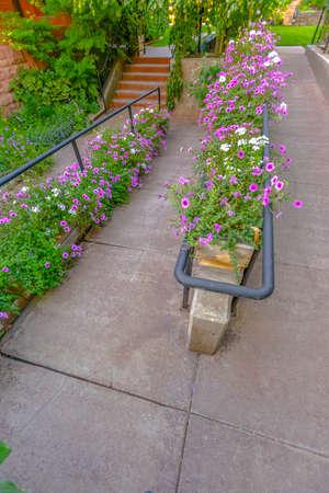 Pedestrian walkways in Salt Lake City with plenty of foliage and decoration for pleasant enjoyment.