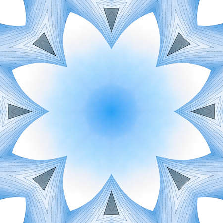 Copy space inside of angular metal fractal. Geometric kaleidoscope pattern on mirrored axis of symmetry reflection. Colorful shapes as a wallpaper for advertising background or backdrop.