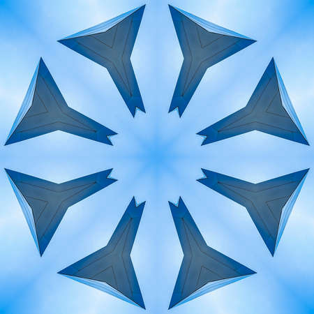 Star shape made with eight sides from metal. Geometric kaleidoscope pattern on mirrored axis of symmetry reflection. Colorful shapes as a wallpaper for advertising background or backdrop.