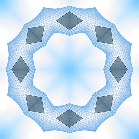 Angular ring made with metal sheets concert hall. Geometric kaleidoscope pattern on mirrored axis of symmetry reflection. Colorful shapes as a wallpaper for advertising background or backdrop.
