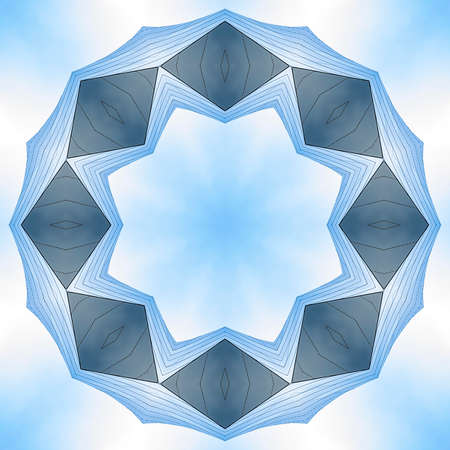 Angular ring made with concert hall Los Angeles. Geometric kaleidoscope pattern on mirrored axis of symmetry reflection. Colorful shapes as a wallpaper for advertising background or backdrop.