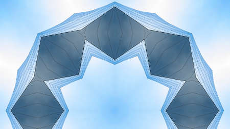 Panorama frame Metallic angular ring made from concert hall. Geometric kaleidoscope pattern on mirrored axis of symmetry reflection. Colorful shapes as a wallpaper for advertising background or backdrop.