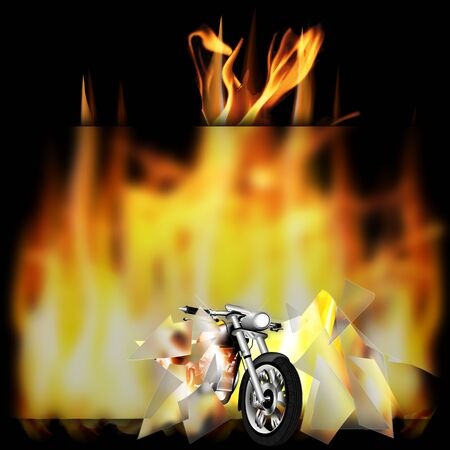 vector illustration motorbike, chopper, smashes a glass frame and pulled out of the fire