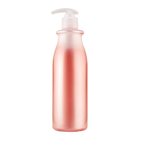 Photo pour One cosmetic bottle with red liquid close up isolated on white background - image libre de droit