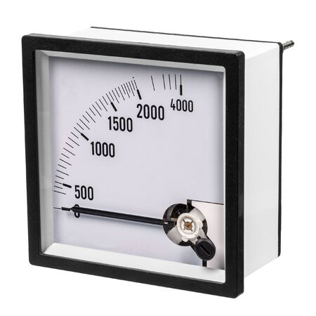 Photo for Analog ammeter or voltmeter with dial and arrow on a white background. Side view - Royalty Free Image