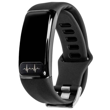 Photo pour Smart fitness bracelet with pulse measurement, black silicone strap and blank screen or inscription hanging in the air isolated on a white background. Three quarter view - image libre de droit