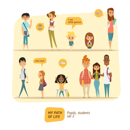 Illustration pour Pupils and students vector set. Cartoon character style. - image libre de droit