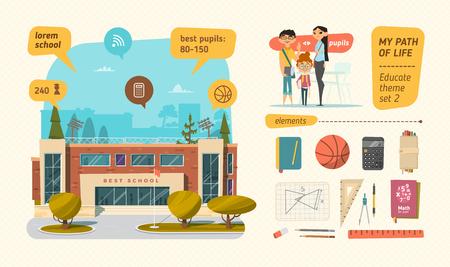 Illustration pour School set with elements. Architecture with people. - image libre de droit