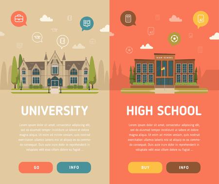 Illustration pour University building and high school building vector illustration - image libre de droit