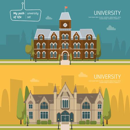 Illustration pour University building set. - image libre de droit
