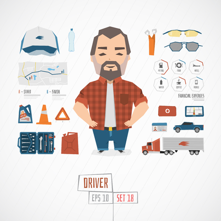 Illustration for Flat funny charatcer driver set with icons and infographic - Royalty Free Image