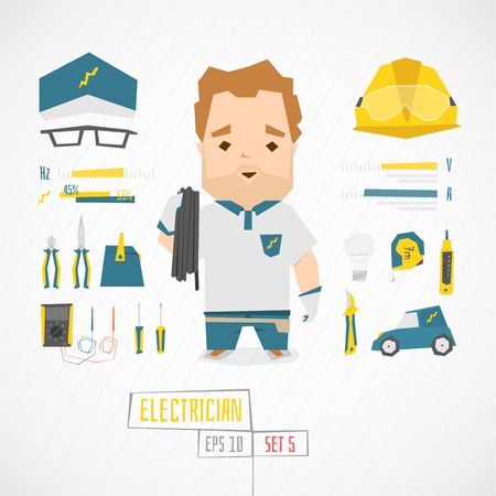 Flat funny charatcer electrician set with icons and infographic