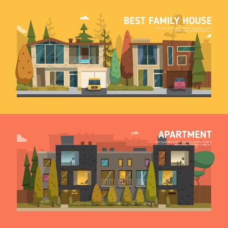 Ilustración de Two family houses and apartment banners on the background - Imagen libre de derechos