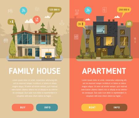 Ilustración de Two  architecture banners with buttons. Flat design - Imagen libre de derechos
