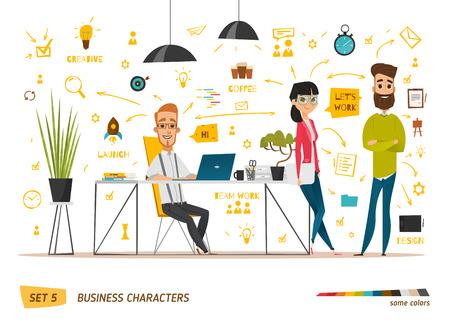 Ilustración de Business characters scene. Teamwork in modern business office - Imagen libre de derechos