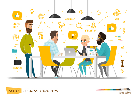 Illustration pour Business characters scene. Teamwork in modern business office - image libre de droit