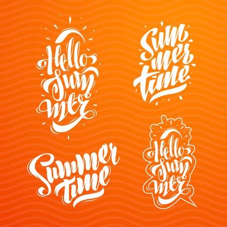 Illustration pour Summer Lettering Set. Some Creative Compositions For Your Projects. - image libre de droit