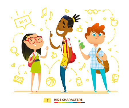 Illustration for Pupils characters together. Cute moment in school - Royalty Free Image