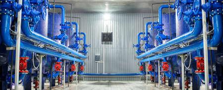 Photo pour Water purification filter equipment in plant workshop. - image libre de droit