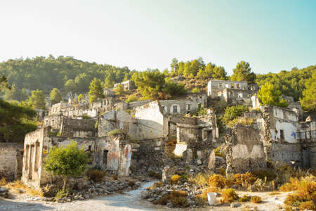 Historical Lycian village of Kayakoy, Fethiye, Mugla, Turkey. Ghost Town, anciently known as Lebessos and Lebessis. Abondoned Greek and turkish village.
