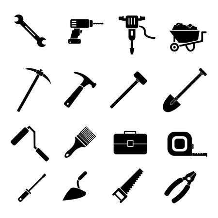 Illustration for Work industry construction equipment tools vector icon set, pliers, hammer, toolbox, screwdriver and other icons - Royalty Free Image