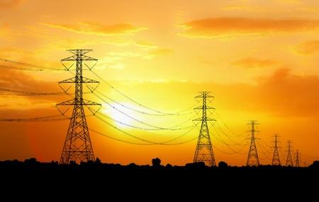 electric pylon at sunset