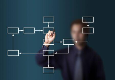 Photo pour business man drawing flowchart diagram - image libre de droit