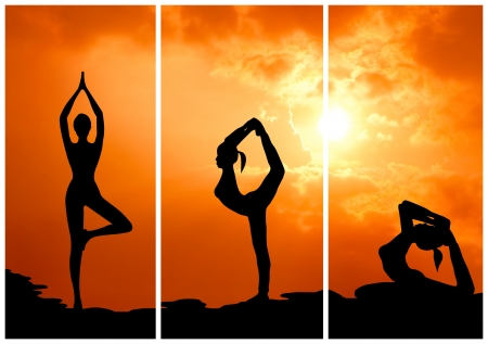 collection of healthy woman practice yoga at sunset silhouetted