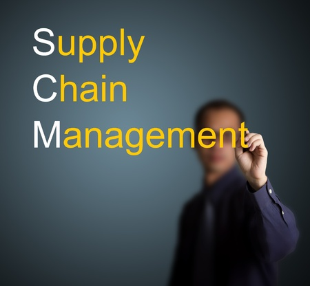 businessman writing supply chain management concept on whiteboard