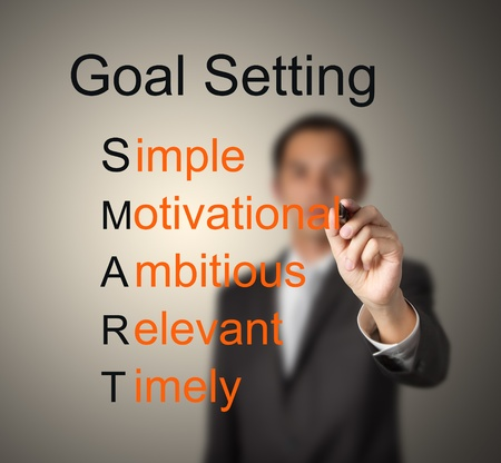 business man writing  concept of smart goal or objective setting - simple - motivational - ambitious - relevant - timely