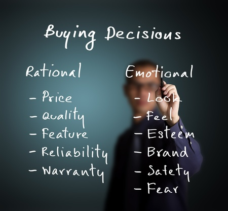 business man writing marketing concept - buying decision depend on various ration and emotion