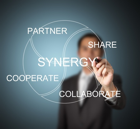 business man writing synergy concept ( partner, share, cooperate, collaborate )
