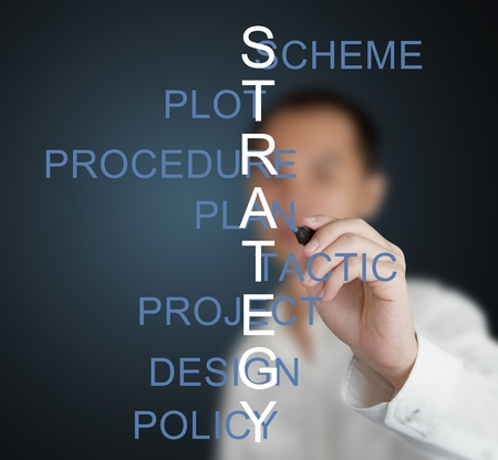 business man writing strategy concept crossword by related meaning word ( scheme - plot - procedure - plan - tactic - project - design - policy )