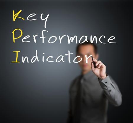 business man writing key performance indicator   KPI   concept