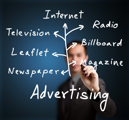 business man writing advertising media channel