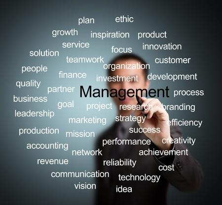 business man writing management concept