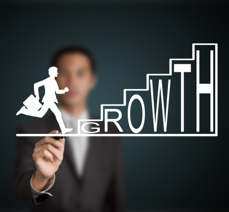 business man start to run and climb up  growth stair figure drawn by a businessman