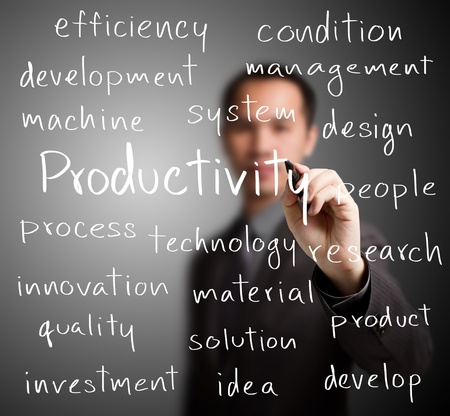 business man writing productivity concept