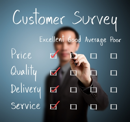 business man evaluate excellence on customer survey form