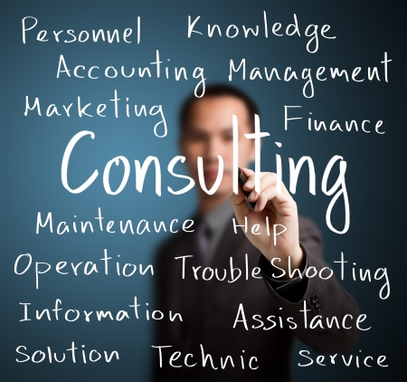 businessman writing consulting concept