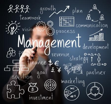 business man writing management scheme