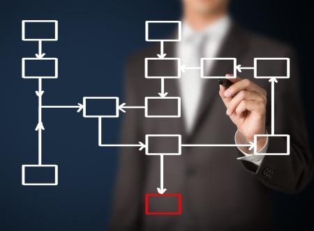 Photo pour business man writing blank process flowchart diagram - image libre de droit
