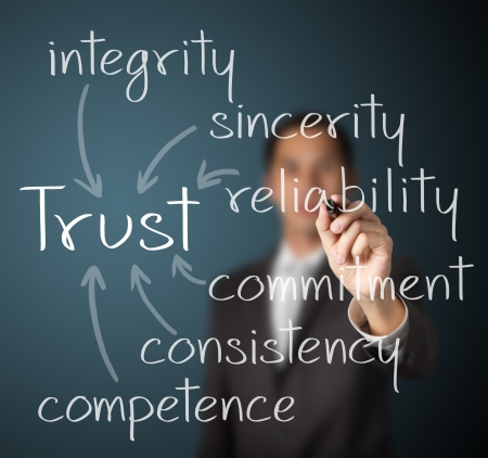 Foto de business man writing trust building concept - Imagen libre de derechos