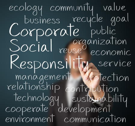 business man writing corporate social responsibility   CSR   concept
