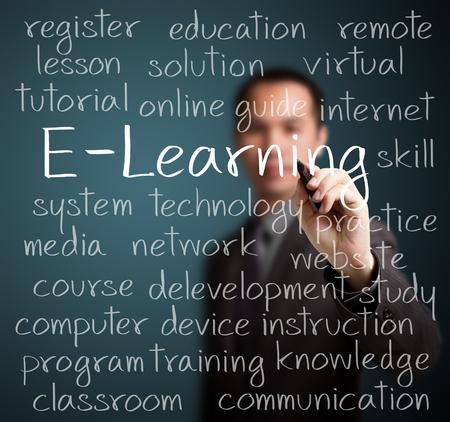 Photo pour businness man writing e-learning concept - image libre de droit
