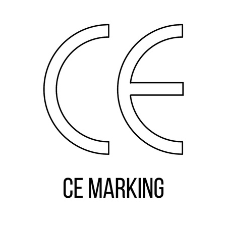 CE Marking icon or logo line art style. Vector Illustration.